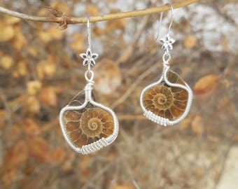 Ammonite Sterling Silver Wire Wrapped Earings