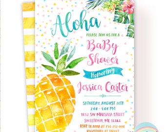 Aloha Baby Shower Invitation, Pineapple Baby Shower Invitation, Hawaiian  Luau Invitation,Luau Baby
