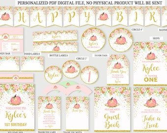 Pumpkin Package Birthday Party, Pumpkin Package, Pumpkin Pack Printable,Pink and Gold Package Personalized,Fall Birthday Party, DIGITAL FILE