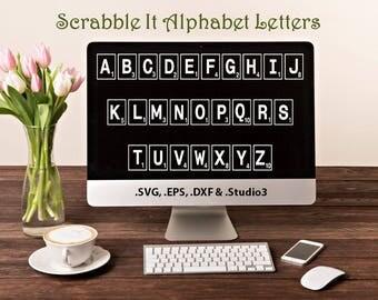 Scrabble It Alphabet in .SVG .EPS .DXF & .Studio3 formats Craft Cut Die Cutters Digital Vector Files Instant Download