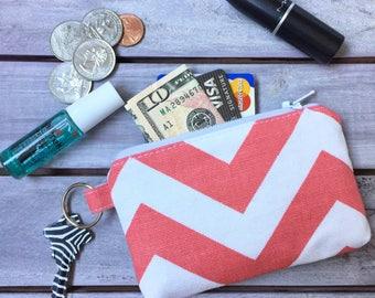 Coral Chevron Little Zipper Pouch Wallet; Credit Card Wallet; Purse Pouch; Pouch Bag; Coin Purse; Pouch Wallet; Minimalist Wallet