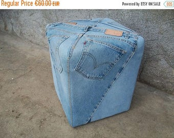 ON SALE Ottoman//Ottoman Pouf//Foot Stool//Foot Rest//Pouf//Stool//Floor Pouf//Floor Seating//Recycled Denim//Upholstered Ottoman//Found And