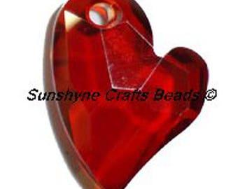 Swarovski RED MAGMA 6261 17mm Devoted 2 U Heart Pendant 1 Pc - Swarovski Crystal Elements Beads
