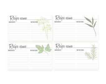 10 Recipe Cards, Recipe Cards 4x6, Recipe Card set, Vegetable recipe cards, Herbs recipe card, Bridal shower recipe card