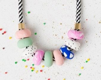 Pink Chunky necklace, Geometric necklace, Statement necklace, Beaded jewelry, Geometric jewelry, Modern jewelry, Polymer clay, Urban jewelry