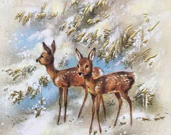 SALE Vintage Postcard. Happy New Year Postcard. French Postcard. Scrapbooking. Doe Illustration. Unused. Bonne Année Postcard. Gilded Postca
