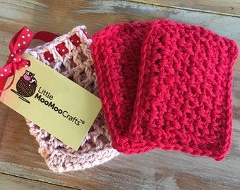 Valentine's spa gift set, bath set, crochet spa kit, bridesmaid gifts, bath scrubs, washcloths, soap bag, valentines gift, pink and red,