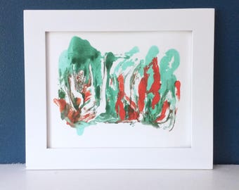 Untitled - 8x10 Orange & Aqua Abstract Print