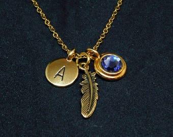 Golden Feather necklace, swarovski birthstone, initial necklace, birthstone necklace