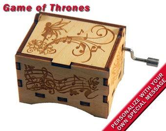 "Fairy Music Box, ""Game of Thrones"", Laser Engraved Wood Hand Crank Music Box"