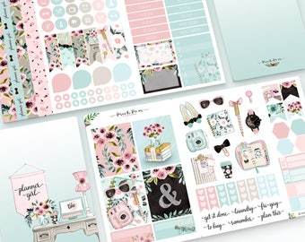 Planner Girl- Travelers Notebook Pocket Sticker Kit (optional clip add-on)