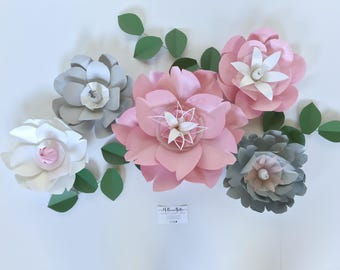 Gray paper flower wall bedroom decor large floral wall playroom accent wall pink giant paper flowers guest room 3D wall art girls bedroom