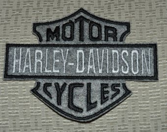 embroidered felt harley back patch, gray