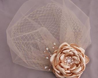 Wedding Veil, Birdcage Veil, Bridal Headpiece, Double birdcage veil, Short Tulle Veil, Wedding Hair Piece, Flower Veil, Flower Hair Clip