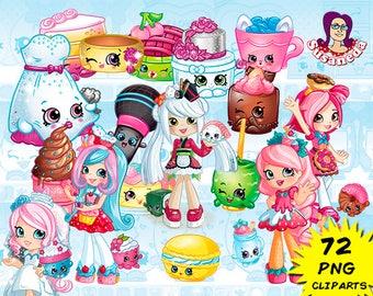 SHOPKINS cliparts, Shopkins Shoppies 72 Cliparts Pack, transparent background, SHOPKINS cliparts, instant download