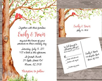 Love Bird Wedding Invitations, Custom Tree Wedding Invite, Wedding Rustic Wedding  Invitations/budget