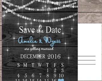 Save the date card, save the date magnet, twinkling lights save the date, calendar save the date