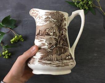 Vintage pitcher brown transferware pitcher Alfred Meakin Tintern farmhouse decor vintage vase bathroom decor farmhouse utensil holder