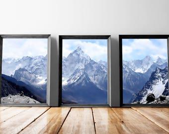 Snowy Mountains | Mountain Artwork, Snowy Art, Cloudy Mountains, Snowy Hills, Snow Sky, Snow Artwork, Blue Sky Mountains, Frosty Sky