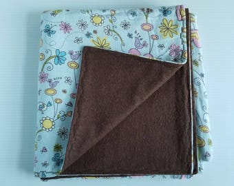 Blue Floral Flannel Baby Blanket, Receiving Blanket, Flannel Blanket, Baby Blanket, Heidi Grace Print, Brown, Blue-Ready to Ship