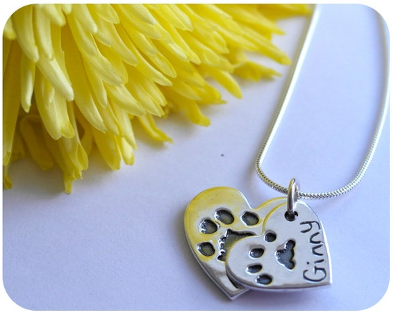 Fingerprint Jewellery - Actual Pets Prints in Silver - Double Paw Print Necklace - Special Gift - Dog - Keepsake Jewellery Handmade in Wales