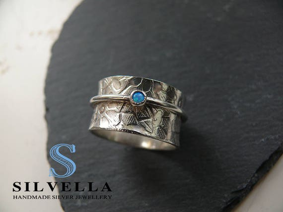Sterling Silver Opal Spinner Ring - Worry Ring