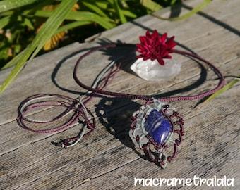 Lapislazuli & Garnets Macrame Necklace. Wife Blue Necklace. Lapislazuli Gift. Elegant Wife Gift. Zodiac Necklace by Macrame Tralala