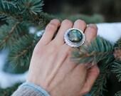 Sterling Silver Ring | Silver Ring | Labradorite Ring | Statement Ring | Bohemian Ring | Chiseled Ring | Flower Awakening Ring