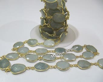AAA Quality Natural Aquamarine Briolette Connector Chain , Uneven Shape Gemstone Connector Chain 12 to 15mm Size ,  Sold Per Foot