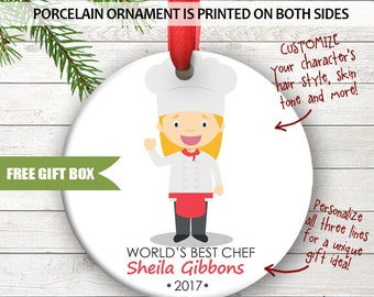 Chef Cook Head Chef Sous Chef Cute Personalized Christmas Holiday Ornament Custom Porcelain Ceramic Occupation Ornament Great Gift Idea