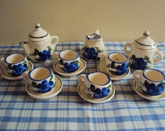 Vintage inspired ceramic play tea set 15 pieces
