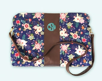 Laptop Bag Floral Laptop Case, Monogram Laptop Bag Women, Laptop Bag Zipper, Embroidered Gifts for Women, Monogram Bag Women, Floral Print