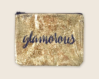 Gold Glitter Bags With Sayings, Glitter Zipper Pouch, Clear Makeup Pouch Personalized, Confetti Clutch For Women, Clear Bag Organizer Bag