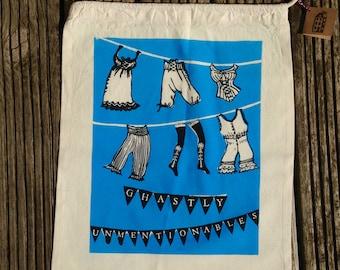 vintage underwear screen printed laundry bag