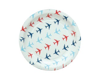 Pack of 10 Planes Paper Plates, Airplanes Party Decoc, Planes Tableware, Little Pilot Party Plates,Little Pilot Party Decor, Airplanes Party