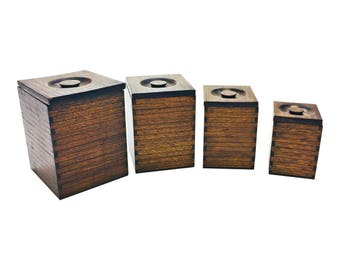 4 Vintage WOOD CANISTER SET Nesting mid century wooden lot kitchen flour coffee tea sugar finger jointed woodworking