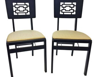 2 Vintage Wood FOLDING CHAIR PAIR set antique dinette mid century modern black beige wooden vinyl seat stakmore dining asian mcm