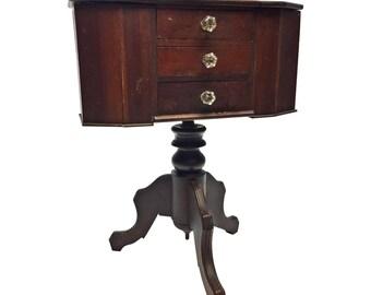 Vintage Martha Washington SEWING STAND wood box storage wooden basket cabinet antique shabby arts & crafts chic caddy sliding oak bin