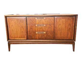 Vintage DANISH MODERN CREDENZA sideboard console buffet server mid century walnut 50s 60s living room storage hallway entryway furniture mcm