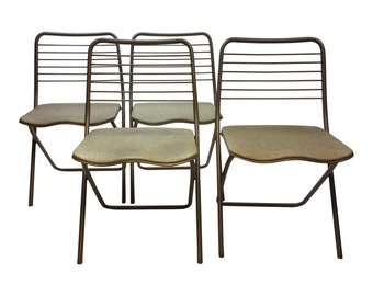 4 Vintage 60s COSCO Folding Chair SET lot metal mid century modern gold beige mcm steel breakfast hamilton dining dinette styleaire