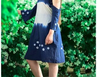 Bandhani Cold Shoulder Dress
