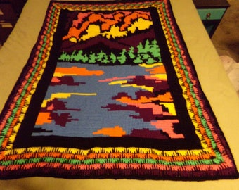 one of a kind scenic crochet throw blanket