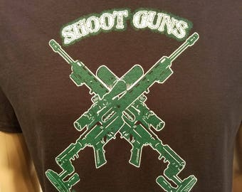 NA - SHOOT GUNS not dope - Black  T-Shirt - S-5X -Black - 100% cotton.  Narcotics Anonymous