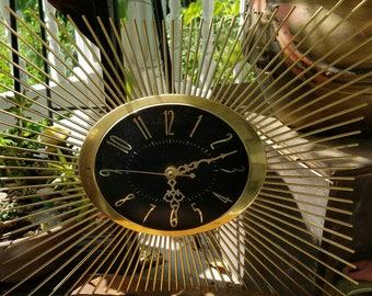 Vintage clock mid century modern gold black
