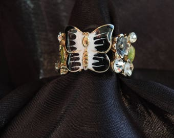 Black and White Butterfly Ring with Black and White Flowers Adjustable Stretch