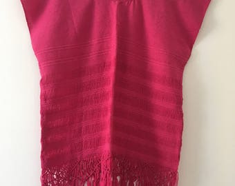 Tradicional Mexican  ~  pink ~ Blouse of Loom