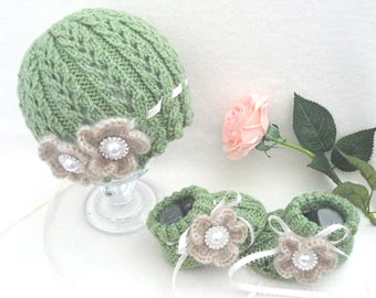 Crochet Baby Hat Knitted Baby Set Crochet Baby Girl Shoes Baby Beanie Knitted Baby Hat Baby Booties Baby Shower Gift Newborn Baby Girl Gift