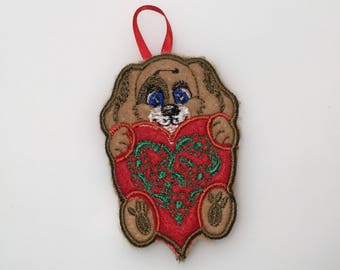 Felt keyring, gift for Valentine's day, gift idea for her and for him, party and home decorations, dog, heart with flowers