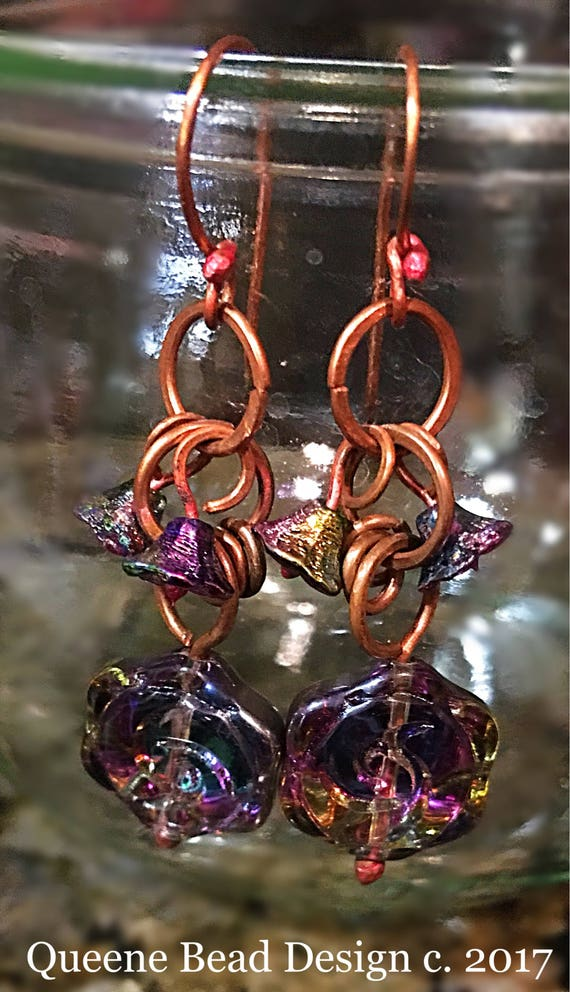 Morning Glory - Vibrant Flower Copper Earrings #queenebead