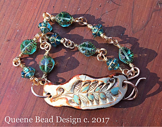 Ceramic Leaf Feather Bracelet with Czech Glass Bead Chain Links  #queenebead